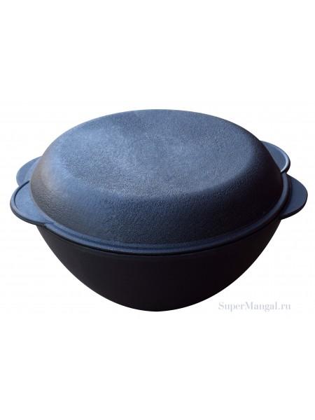 Чугунный казан 5,5 л. с крышкой-сковородой